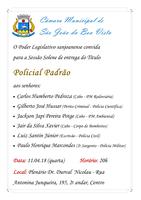 Câmara convida a população para a Sessão Solene do Título Policial Padrão no dia 11.04.18