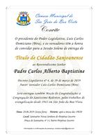 Câmara convida a população para entrega do Título de Cidadão Sanjoanense ao Padre Carlos Alberto Baptistine