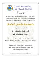 Câmara convida para entrega do Título de Cidadão Benemérito a Paulo Eduardo de Almeida Sorci no dia 8 de agosto