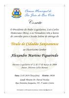 Câmara convida população para entrega do Título de Cidadão Sanjoanense a Alexandre Martins Figueiredo