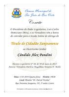 Câmara convida população para entrega do Título de Cidadão Sanjoanense ao Presidente da Associação Comercial e Empresarial (ACE)