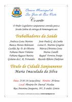 Câmara convida população para homenagem aos Trabalhadores da Saúde e Título de Cidadã Sanjoanense