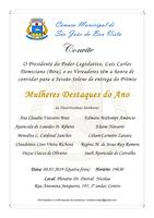Câmara Municipal convida a população para a Sessão Solene de entrega do Prêmio Mulheres Destaques do Ano