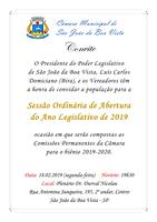 Câmara Municipal de São João abrirá o ano legislativo com sessão nesta segunda-feira