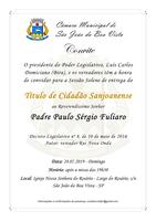 Legislativo convida para Sessão Solene de concessão do Título de Cidadão Sanjoanense ao padre Paulo Fuliaro