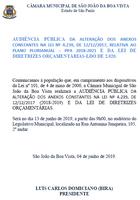 Legislativo convida população para audiência pública da Lei de Diretrizes Orçamentárias